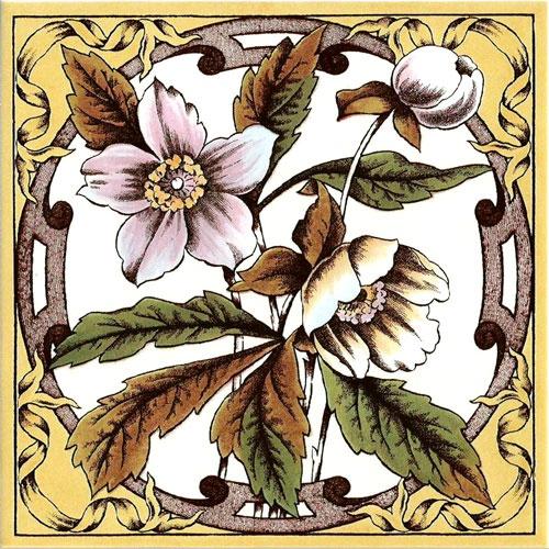 Historic Tiles - Victorian Tiles - Wood Anemone