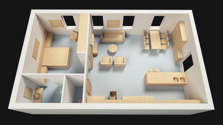 Loft Apartment 75 sqm, 3D Architectural Model - www.pzarch.gr