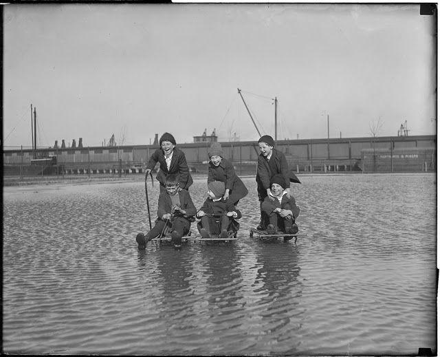 vintage everyday: Kids sledding on underwater ice in Charlestown, Boston, 1921