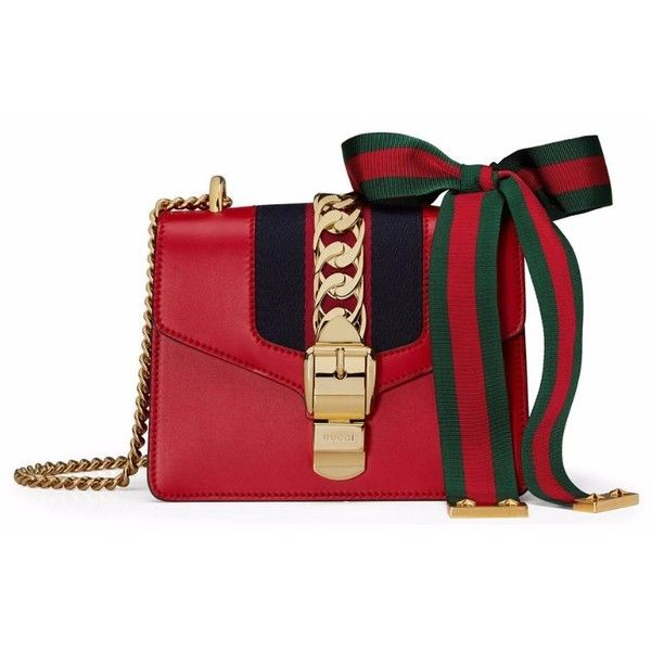 Gucci Sylvie Chain Bag found on Polyvore featuring bags, handbags, shoulder bags, genuine leather handbags, chain shoulder bag, red leather handbag, chain strap purse and mini shoulder bag