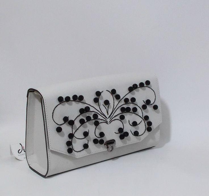 Handmade leather bag with black velvet beads