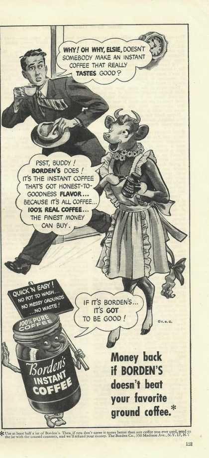I find this extraordinarily creepy. Bordens Instant Coffee Cartoon (1948)