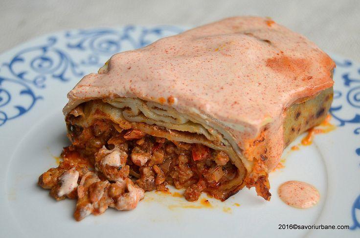 Clatite Hortobagy cu carne si smantana la cuptor Savori Urbane