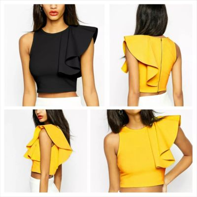 Ruffle Shoulder Crop Top (XS-S)