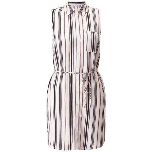 Miss Selfridge PETITE Stripe Shirt Dress ($42) ❤ liked on Polyvore featuring dresses, ivory, petite, striped sleeveless dress, ivory dress, striped shirt dress, rayon dress and stripe dresses