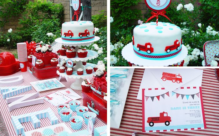 Vintage Firetruck Party, teal and red color theme