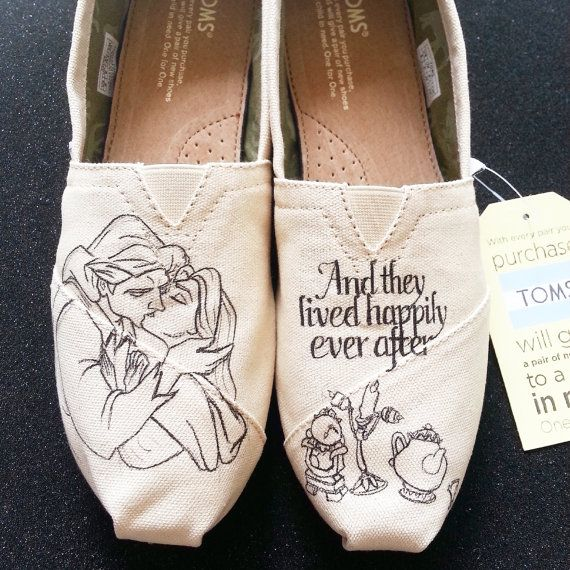 A perfect addition for any Disney or Beauty and the Beast fans!  This listing is for the Beauty and the Beast hand painted shoes. The shoes are