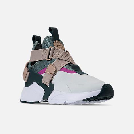 e322adb08f3 Three Quarter view of Women s Nike Air Huarache City Casual Shoes in Barley  Grey Clay Green Fuchsia Blast