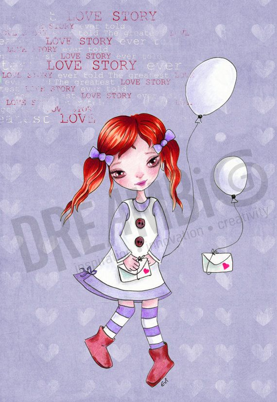 love story Girl balloons Girl Nursery Wall by DreamBigArtDesign