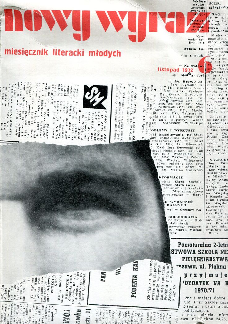 """""""Nowy wyraz. Miesięcznik literacki VI"""" Edited by Jan Zdzisław Brudnicki Cover by Adam Myjak Published by Wydawnictwo Iskry 1972"""