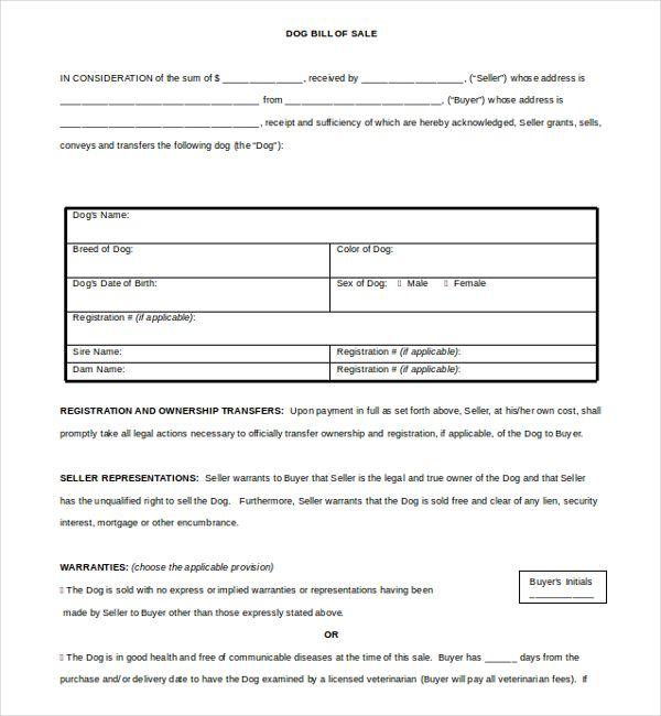 Dog Bill of Sale1 , Bill of Sale Template Word to Use and How to Use the Document , The bill of sale template Word will always help you prepare and make the document yourself easily and fast. Formatted in Word document, the bill of sa...