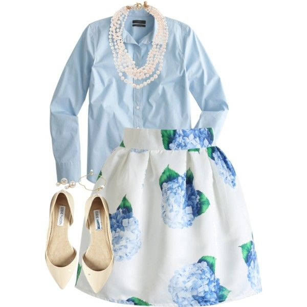Springtime Blue by classycathleen on Polyvore featuring J.Crew, Chicwish, Steve Madden and Georg Jensen