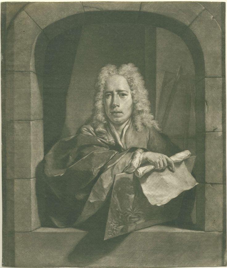 Nicolaas Verkolje | Portret van Carel Borchaert Voet, Nicolaas Verkolje, c. 1700 - before 1746 | De stillevenschilder Carel Borchaert Voet staat in een venster. In zijn hand heeft hij een paneel, waarop diverse planten, en een rol papier. Op de achtergrond en schildersezel.