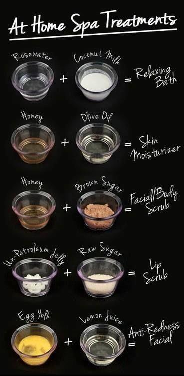 Tratamiento de spa en casa: - Agua de rosas + Leche de coco = baño relajante - Miel + Aceite de Oliva = Hidratante para la piel - Miel + Azúcar Morena = Exfoliante facial/corporal - Gelatina + Azúcar = Exfoliante para labios - Yema de huevo + Jugo de limón = Facial Anti-irritación