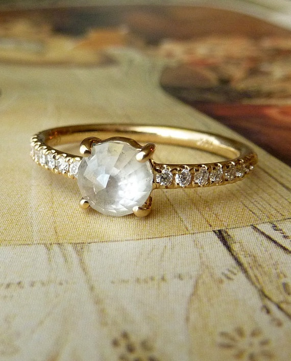 White Rose Cut Diamond Ring by kateszabone on Etsy, $1895.00