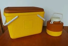 Vintage Set Poloron Ice Chest Picnic Cooler & Vacucel Gallon Jug USA Gold Brown