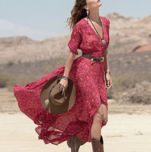Boho Summer Maxi cowgirl red floral dress