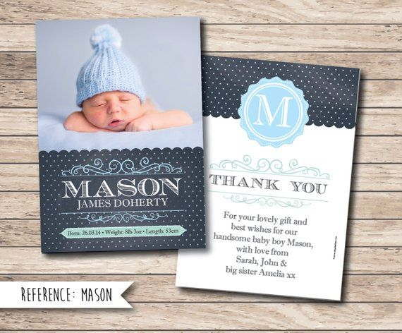 Birth Announcement Baby Thank You Card Printable File Etsy Baby Thank You Cards Baby Shower Thank You Cards Baby Announcement