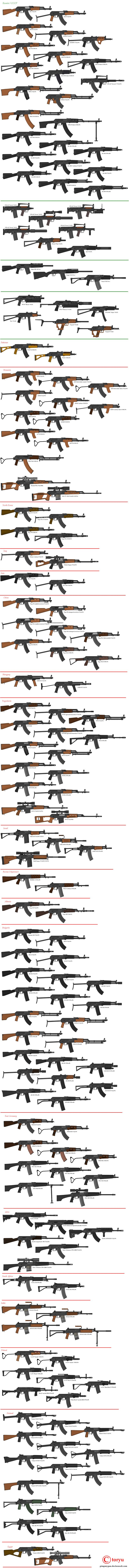 Kalashnikov AK 47 and Variants from Rossiya (Russia) and the rest of the world.