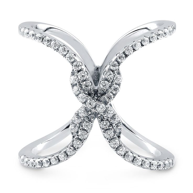 """Sterling Silver CZ Criss Cross """"X"""" Fashion Right Hand Ring #R949"""