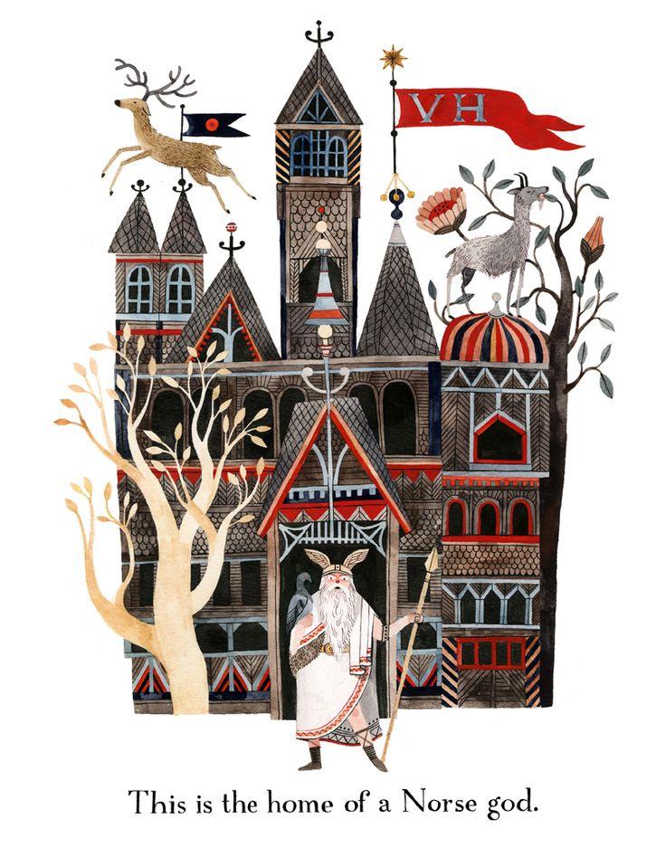 art, spot illustration, fairy tale, naive, figure, man, animal, deer, building, castle, tree, pattern, floral, goat //  carson ellis.