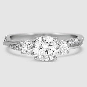 Platinum Three Stone Petite Twisted Vine Diamond Ring 2 5 Ct Tw