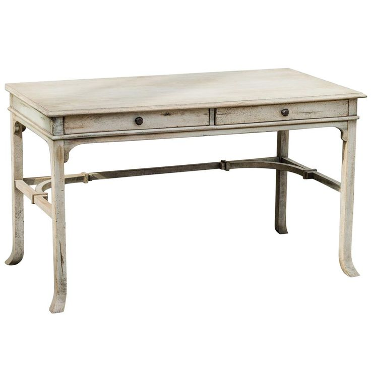 52w x 27d Candide French Country Antique White Wood Writing Desk   Kathy Kuo Home