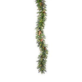 12-in x 9-ft Pre-Lit Pine Artificial Christmas Garland with White Incandescent Lights