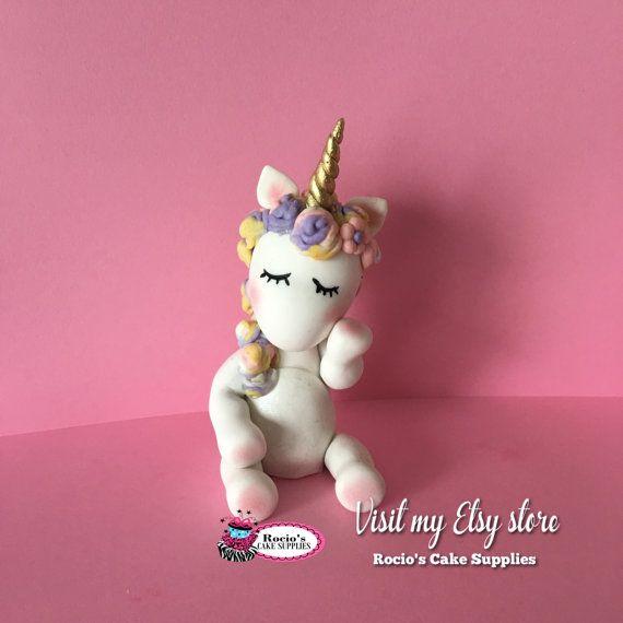 White Unicorn Rainbow Cake Topper by RociosCakeSupplies on Etsy