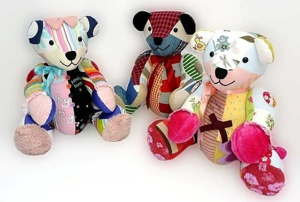 Baby Keepsake Bears - made from outfits that the baby grew out of.  Should be able to DIY. Just get a teddy bear pattern and sew, right? :) hfoote77
