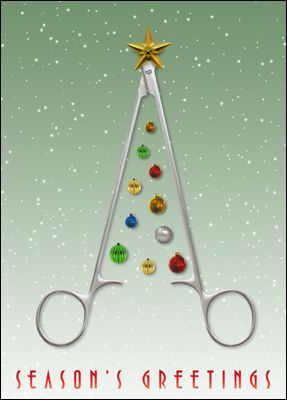 "The card that's the ideal instrument for a surgeon to say ""Season's Greetings."" Surgeon Christmas card that has a sense of humor with scissors that make a tree."