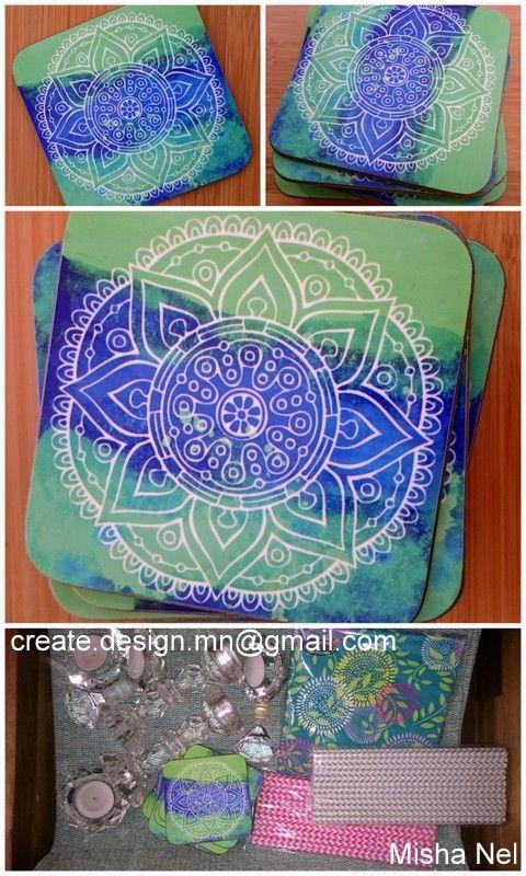 2016 Bohemian, blue & green, mandala, coasters