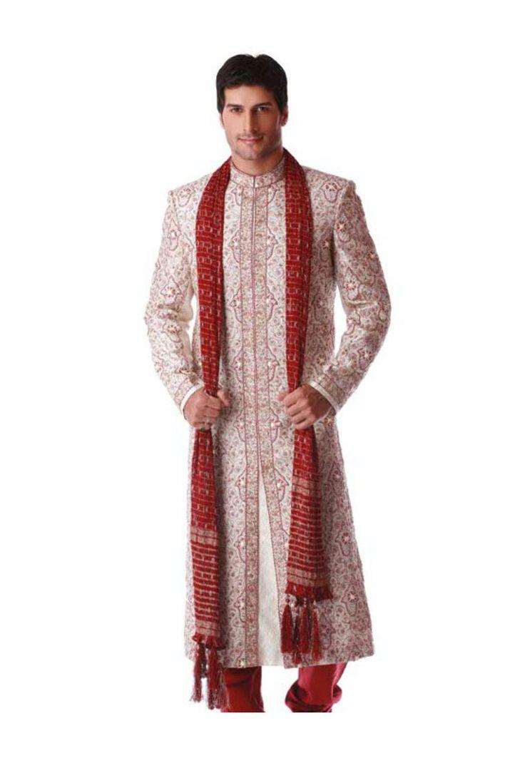 Buy Off White  Brocade Embroidered Sherwani  online, work: Embroidered, color: Maroon / Off White, usage: Groom, category: Mens Wear, fabric: Brocade, price: $366.50, item code: TCJ39, gender: women, brand: Utsav