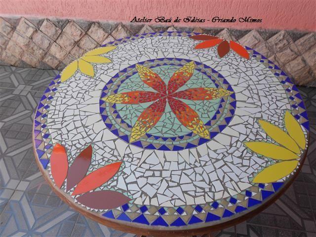 Mesa P De Galo Em Madeira Mosaico Azulejos Tampo