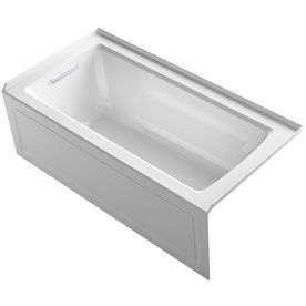 "KOHLER 5-ft x 2-ft 6-in Archer White Rectangular Alcove Bathtub with Left-Hand Drain 19"" depth"