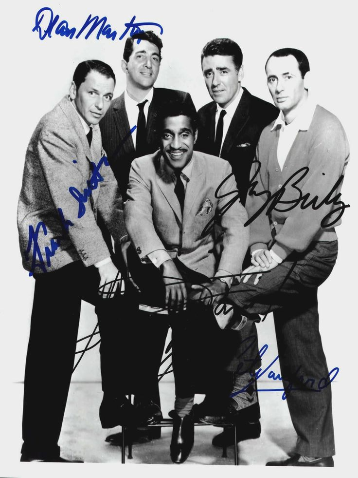 """The Rat Pack was a group of actors originally centered on Humphrey Bogart. In the mid-1960s it was the name used by the press and the general public to refer to a later variation of the group, after Bogart's death, that called itself """"the Summit"""" or """"the Clan,"""" featuring Frank Sinatra, Dean Martin, Sammy Davis, Jr., Peter Lawford, and Joey Bishop; they appeared together on stage and in films in the early 1960s, including the movies Ocean's 11, Sergeants 3, and Robin and the 7 Hoods."""