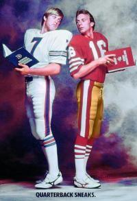 John Elway, left, and Joe Montana