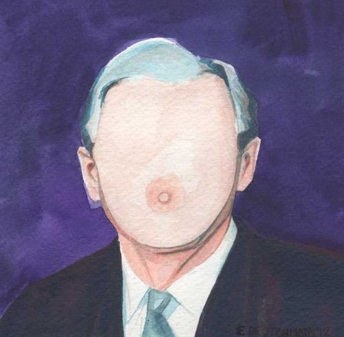 George W. Bush with a Boob Face Watercolor on Paper © E.Deutchman 2012 SOLD