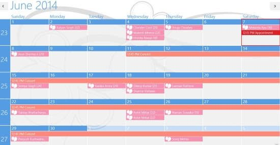 Windows 8 Calendar App To Sync Events And Birthdays Of Gmail, Facebook