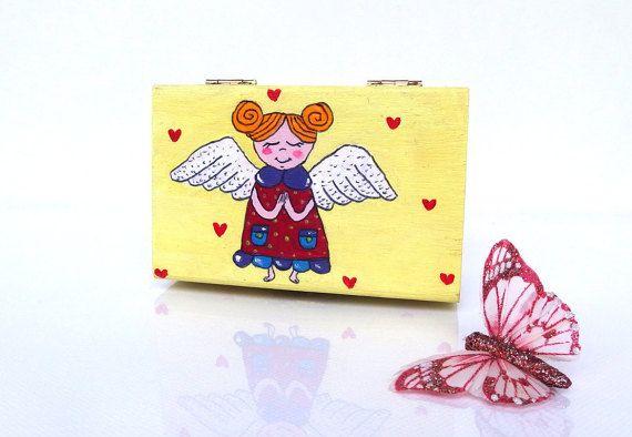 Christening gifts for girls - Small box - Girls keepsake box - Christening box - Hand painted wood box - Girl's christening gift - Baptism Girl nursery