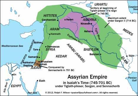 Ancient Assyrian Empire | The Assyrian Empire during Isaiah's Ministry. Primary Source: Michael ...