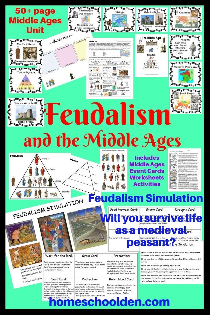 This 50 Page Middle Ages Includes A Fun Feudalism Simulation As Well As Worksheets Event Cards Notebook Pages Event Card Homeschool Curriculum Middle Ages