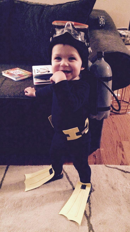 Toddler boy homemade scuba diver Halloween costume