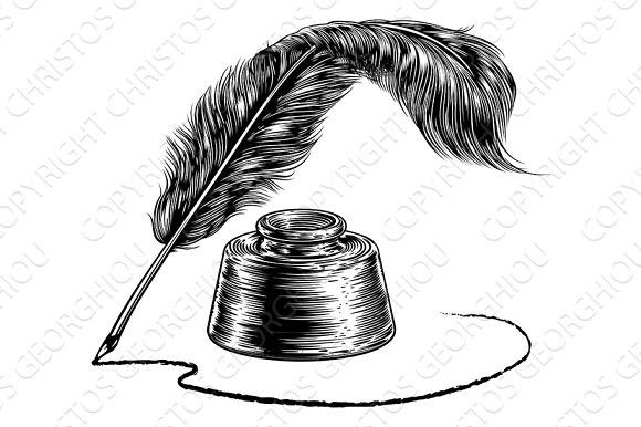 Writing Feather Quill Ink Pen and Inkwell | Quill and ink ...