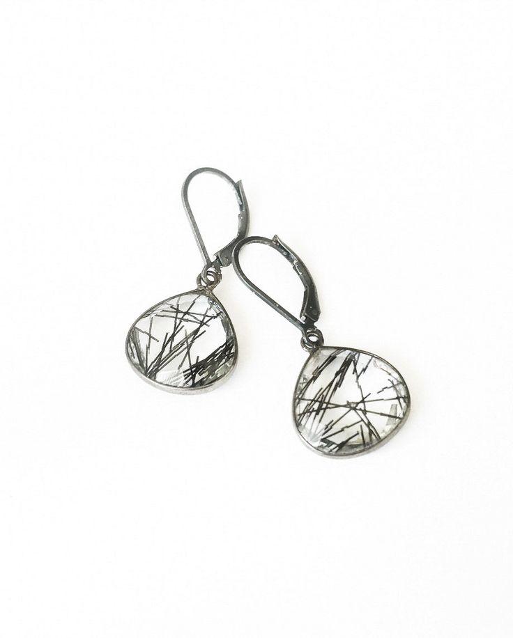 Black Rutilated Quartz Earrings, Rutilated Quartz, Black Rutilated Quartz, Tourmalinated Quartz, Tourmalinated Quartz Earrings, Silver - pinned by pin4etsy.com