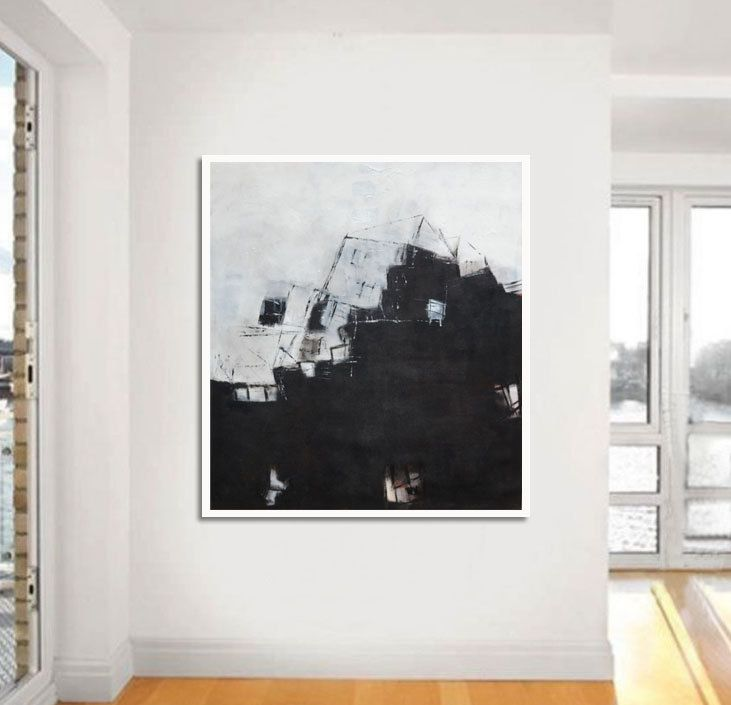 "Large Abstract Painting, Wall decor, Wall art, original abstract painting ,BBB#38 , 36x40"" Mix media on Canvas,black and white, grey by ARSartshop on Etsy"