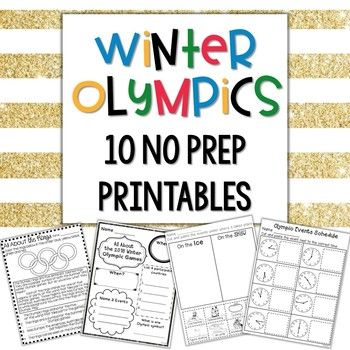 Are you looking for some *PREP FREE* fun to celebrate and teach about this year's Winter Olympics? These 10 activities are the PERFECT way to incorporate Olympic activities into your lessons with NO prep time involved! Includes: --All About the Rings comprehension passage --Olympian poster* --Snow/Ice Olympic Sport sorting worksheet --All About the Olympic Games poster --Olympic Medal Addition --Olympic Medal Missing Addends --Olympic Medal Graphing worksheet --South Korea Flag Facts...