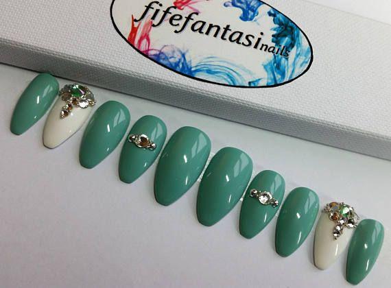 Green Stiletto Nails Swarovski Nails Crystal Nails Press on