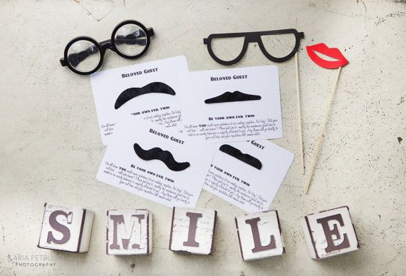 Vintage moustache wedding table game/fancy by BeyondVintageInvites