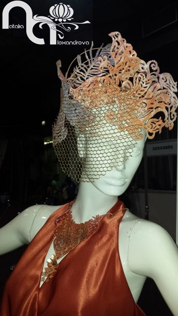 Hat and necklace designed & handmade from manually perforated fabric by Natalia Alexandrova on Durban Fashion Fair 2016. Stand designer accessories by Natalia Alexandrova on Durban Fashion Fair 2016